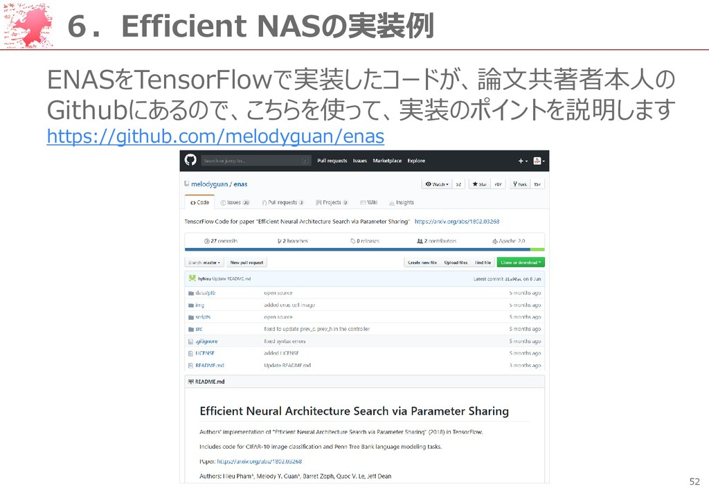 52 6.Efficient NASの実装例 ENASをTensorFlowで実装したコードが...