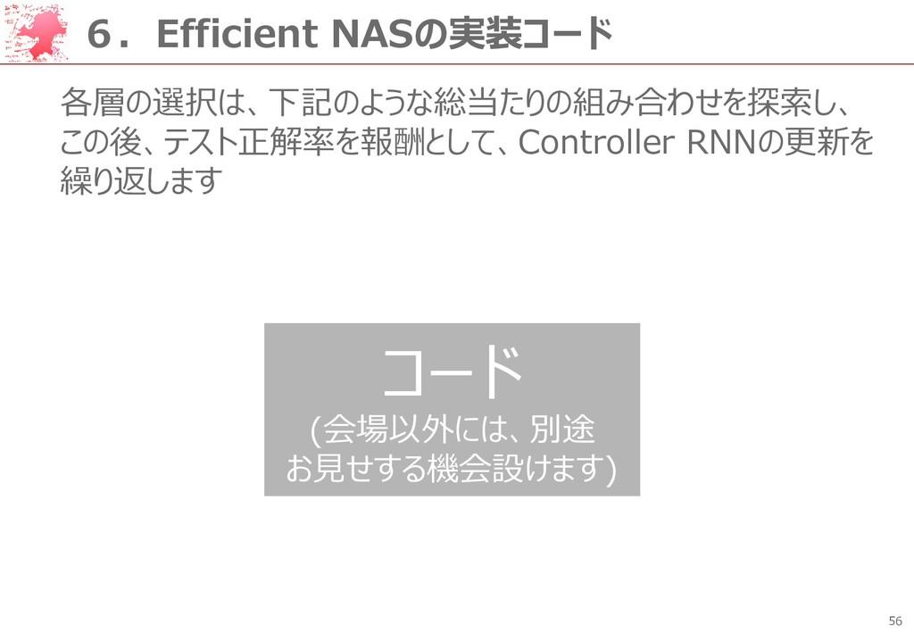 56 6.Efficient NASの実装コード 各層の選択は、下記のような総当たりの組み合わ...