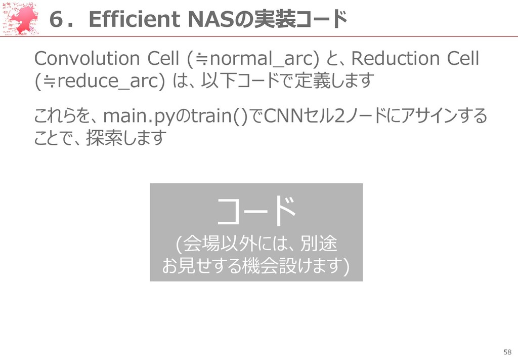 58 6.Efficient NASの実装コード Convolution Cell (≒nor...