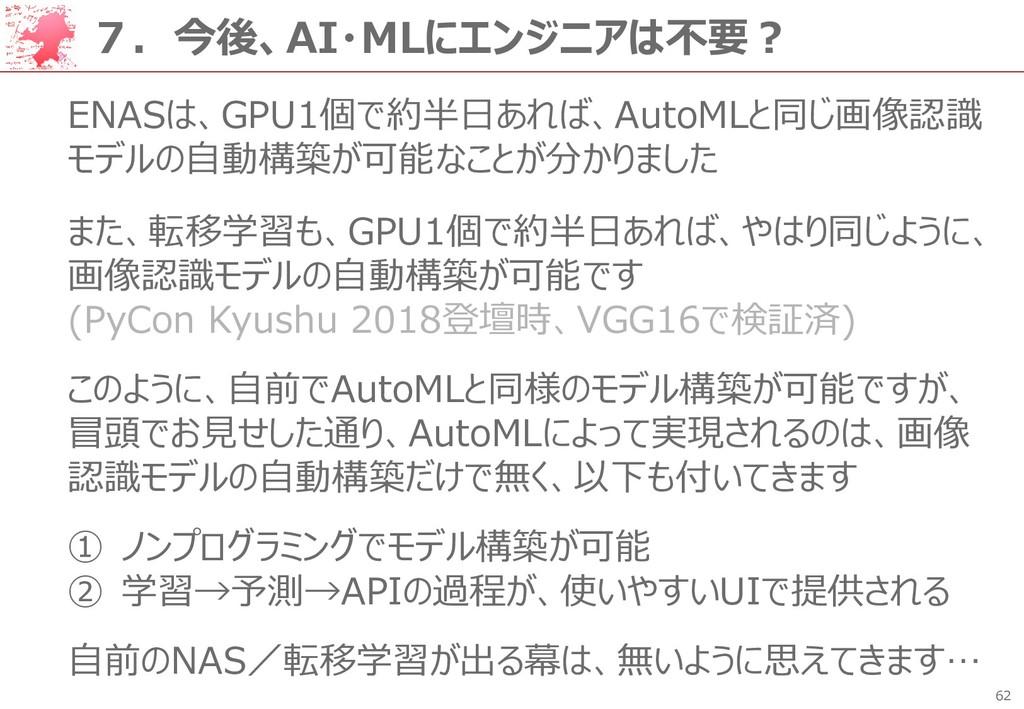 62 7.今後、AI・MLにエンジニアは不要? ENASは、GPU1個で約半日あれば、Auto...