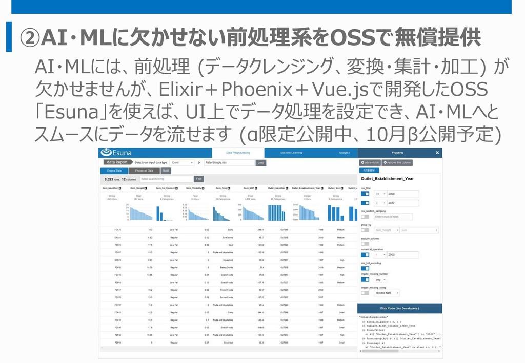 ②AI・MLに欠かせない前処理系をOSSで無償提供 AI・MLには、前処理 (データクレンジン...