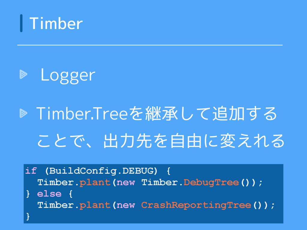 Logger Timber.Treeを継承して追加する ことで、出力先を自由に変えれる Tim...