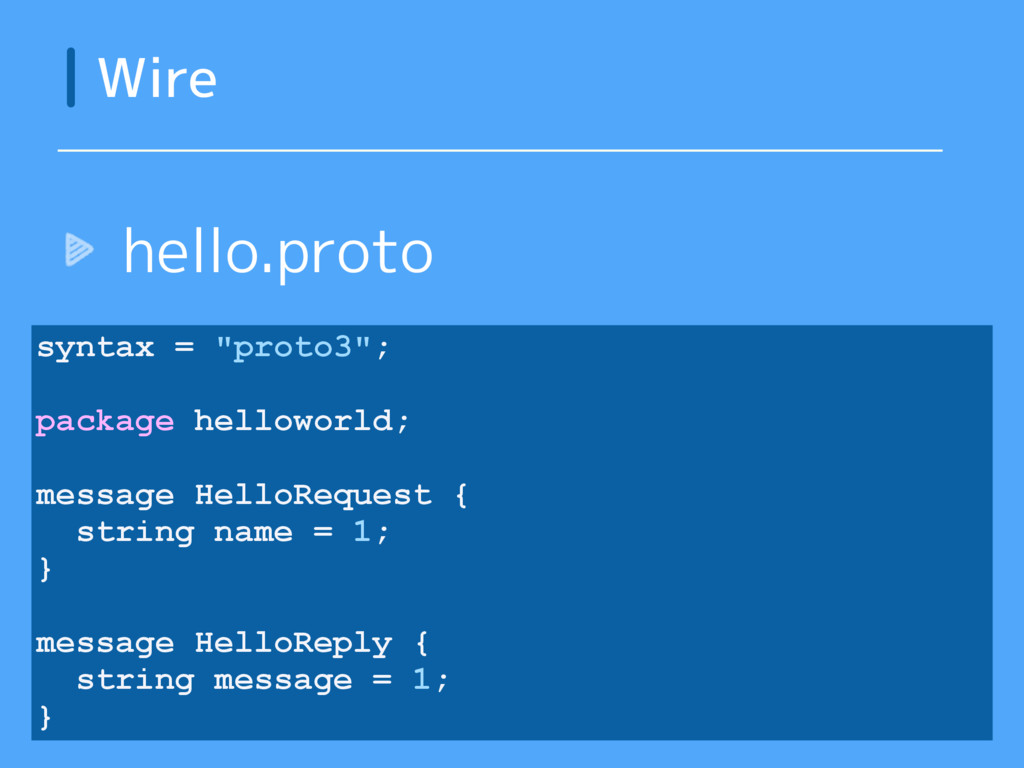 """Wire syntax = """"proto3""""; package helloworld; mes..."""