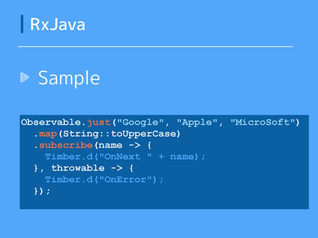 """Sample RxJava Observable.just(""""Google"""", """"Apple""""..."""