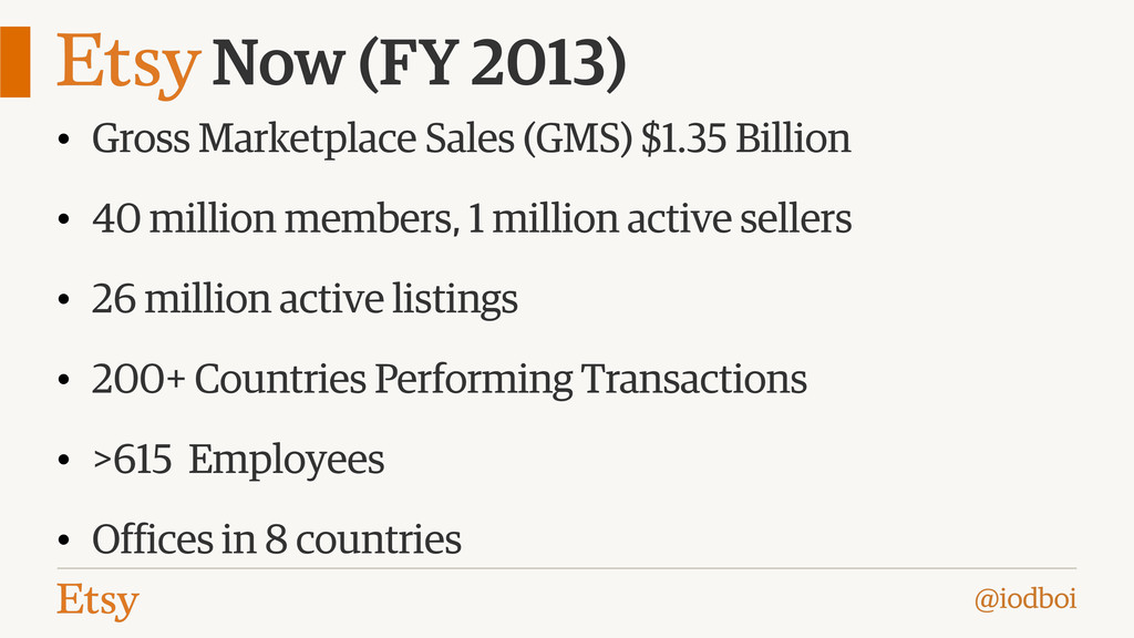 @iodboi Now (FY 2013) • Gross Marketplace Sales...
