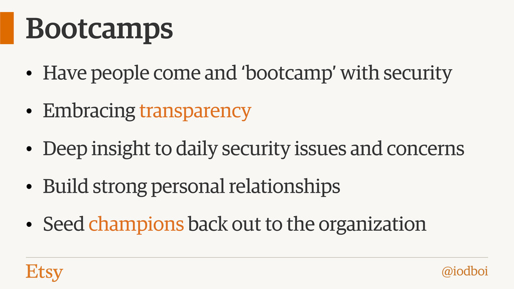@iodboi Bootcamps • Have people come and 'bootc...