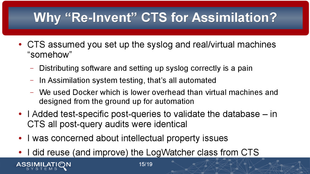 """15/19 Why """"Re-Invent"""" CTS for Assimilation? Why..."""