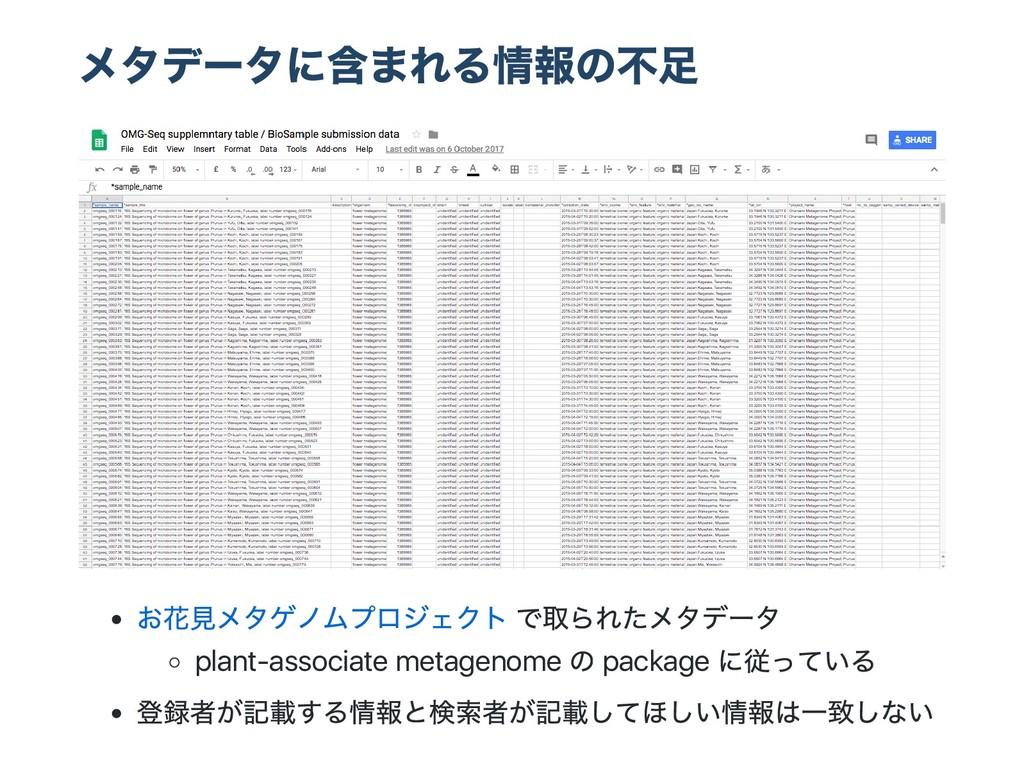 メタデー タに含まれる情報の不足 お花見メタゲノムプロジェクト で取られたメタデー タ pla...