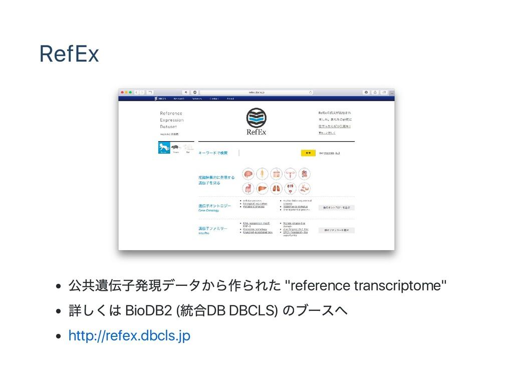 "RefEx 公共遺伝子発現デー タから作られた ""reference transcriptom..."