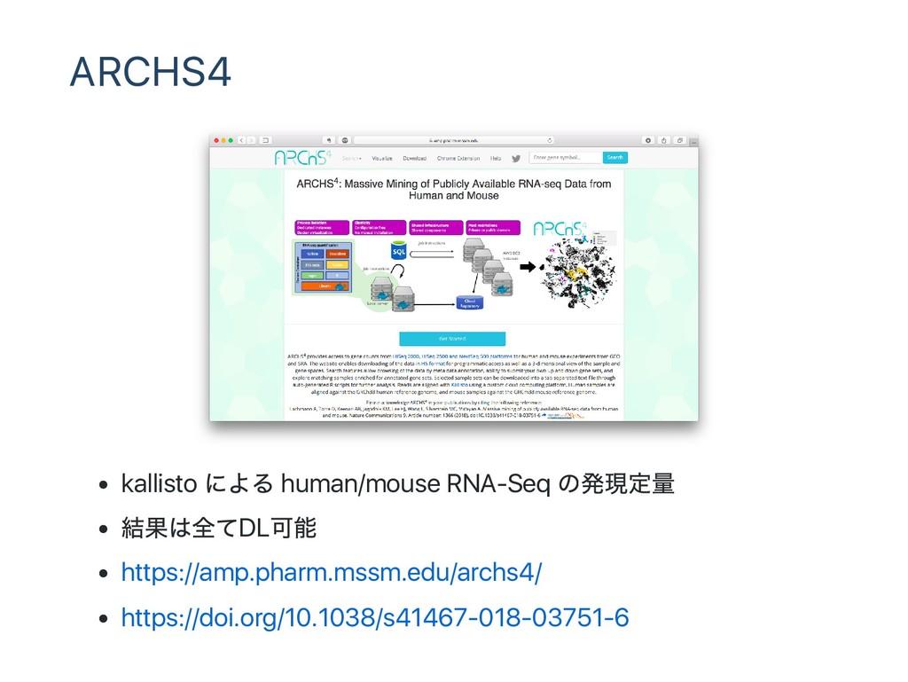 ARCHS4 kallisto による human/mouse RNA‑Seq の発現定量 結...