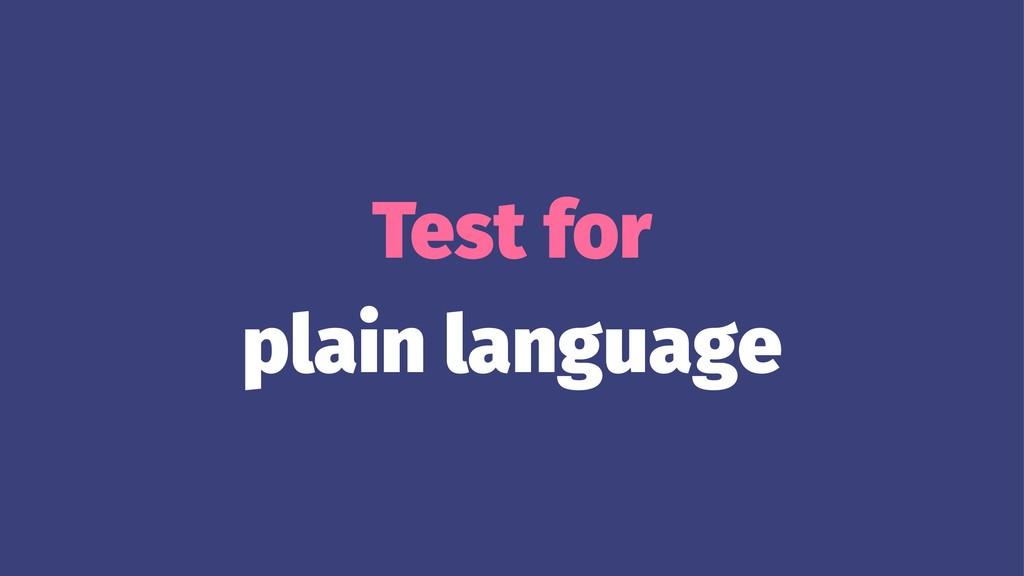 Test for plain language