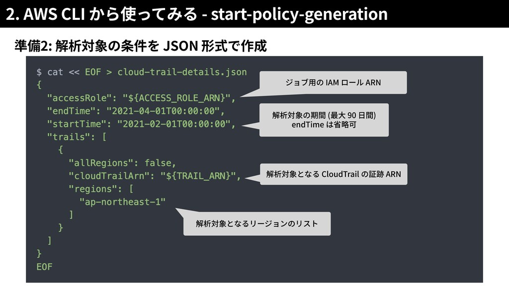 2. AWS CLI - start-policy-generation 2: JSON IA...