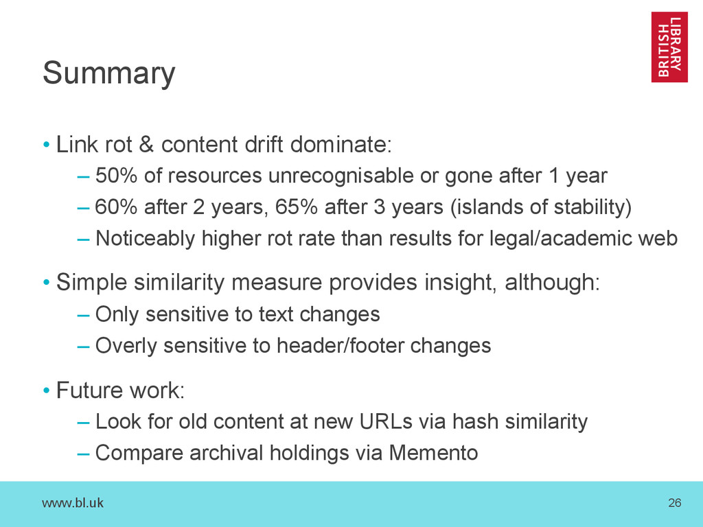 www.bl.uk 26 Summary • Link rot & content drift...