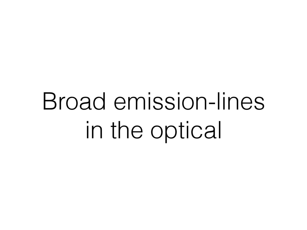 Broad emission-lines in the optical