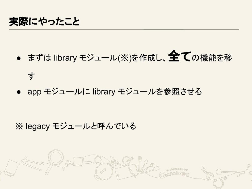 実際にやったこと ● まずは library モジュール(※)を作成し、全ての機能を移 す ●...