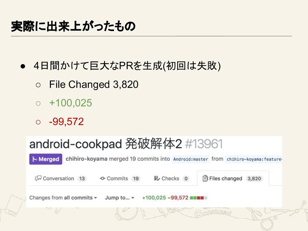 実際に出来上がったもの ● 4日間かけて巨大なPRを生成(初回は失敗) ○ File Chan...