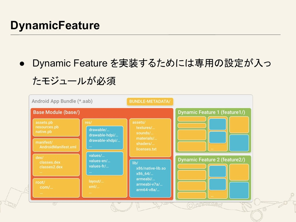 DynamicFeature ● Dynamic Feature を実装するためには専用の設定...