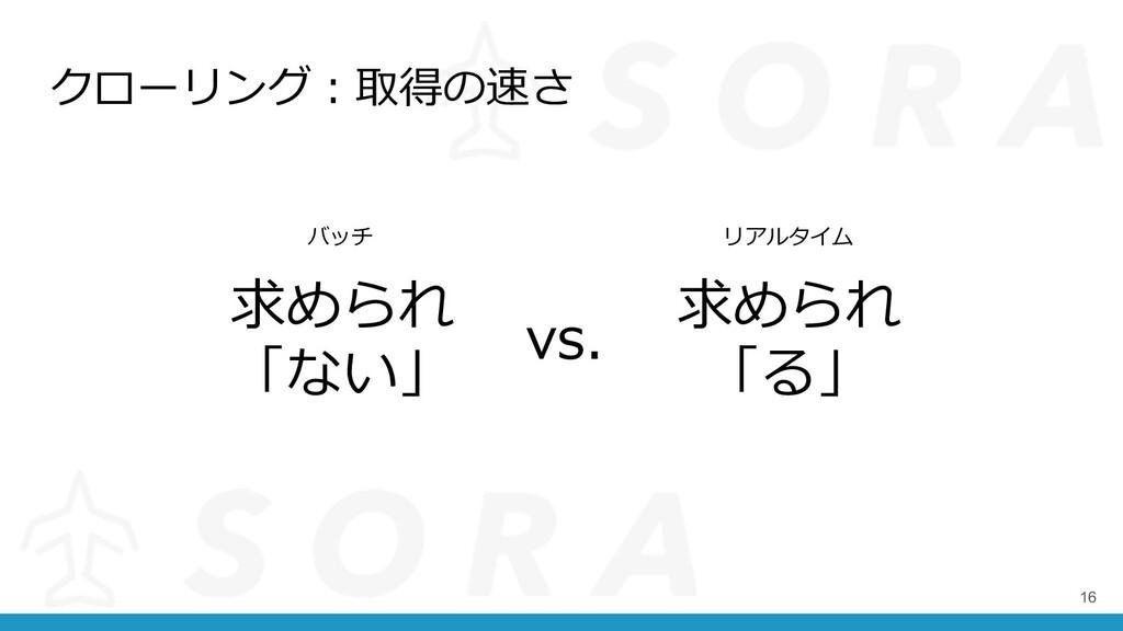 クローリング︓取得の速さ 16 求められ 「ない」 vs. 求められ 「る」 バッチ リアルタ...