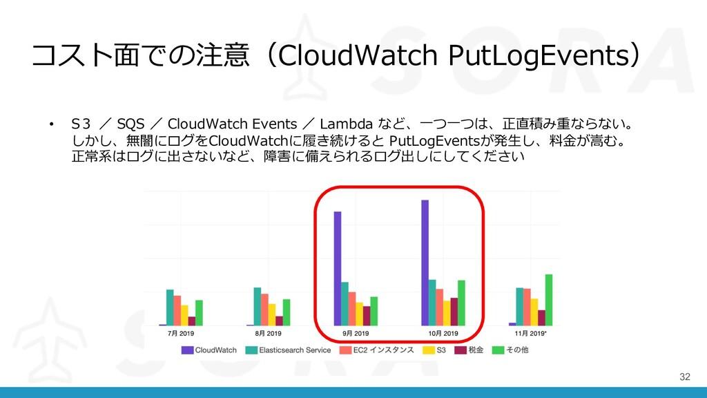コスト⾯での注意(CloudWatch PutLogEvents) 32 • S3 / SQS...