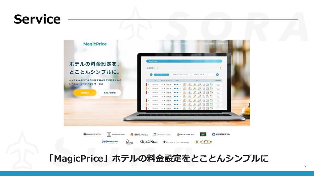7 「MagicPrice」ホテルの料⾦設定をとことんシンプルに Service