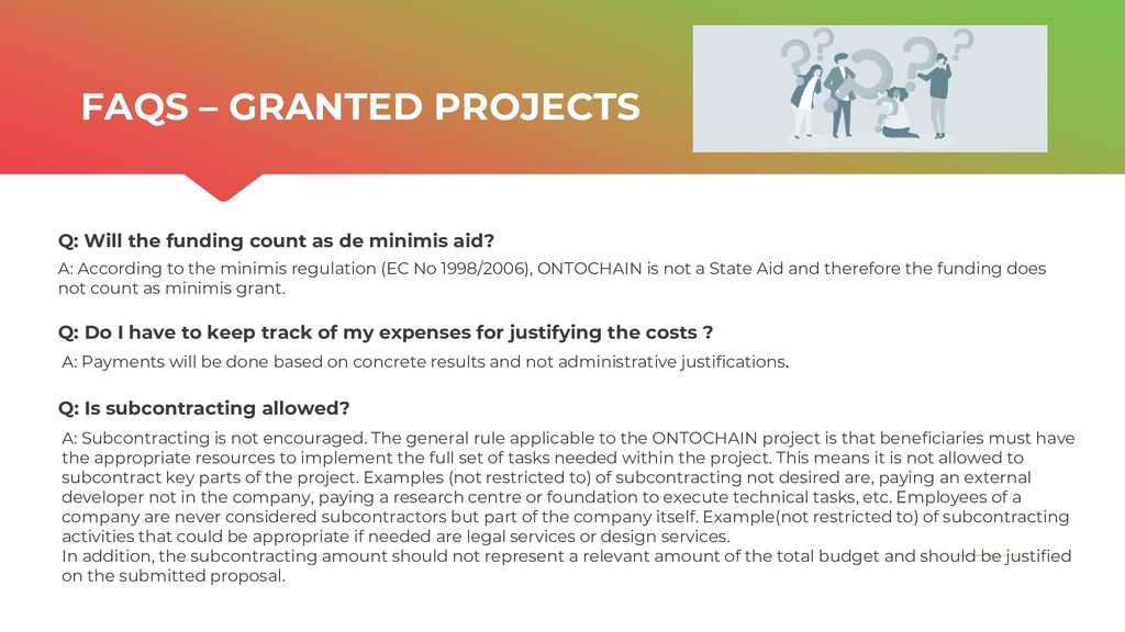 | ONTOCHAIN.NGI.EU Q: Will the funding count as...