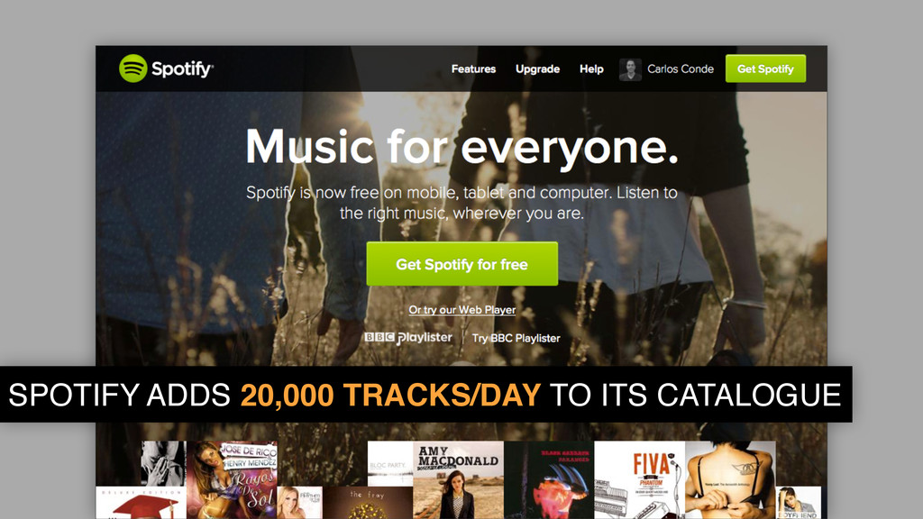 SPOTIFY ADDS 20,000 TRACKS/DAY TO ITS CATALOGUE