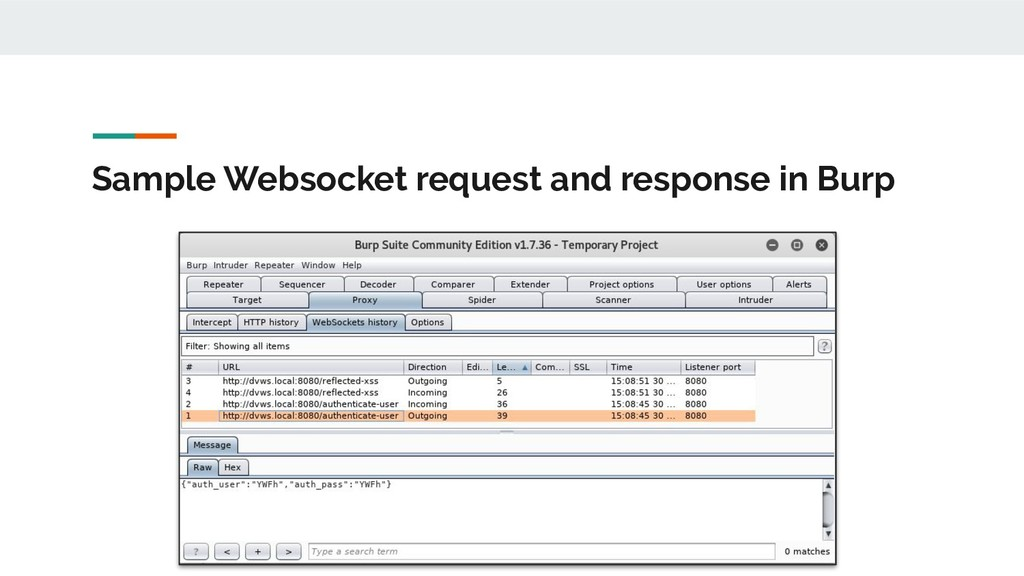 Sample Websocket request and response in Burp