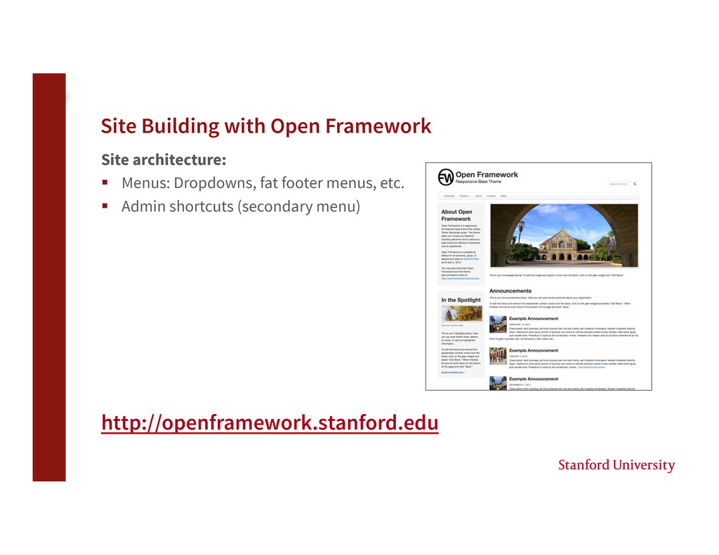 Site Building with Open Framework Site archite...