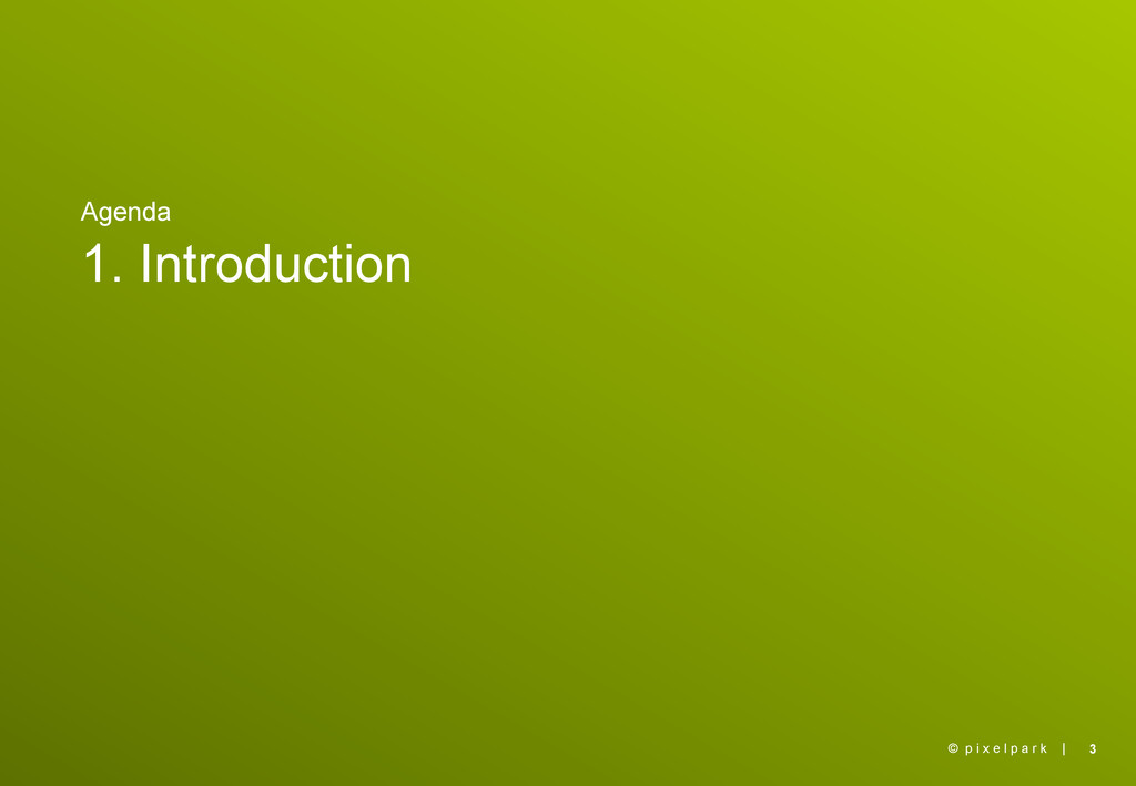 | Agenda 1. Introduction 3 © p i x e l p a r k
