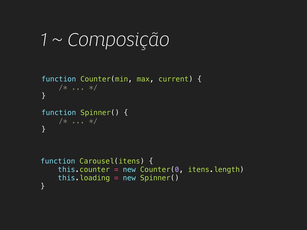 1 ~ Composição function Counter(min, max, curre...