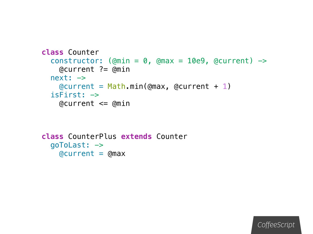 class Counter constructor: (@min = 0, @max = 10...