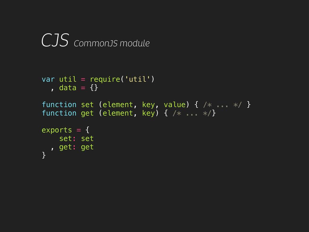 CJS CommonJS module var util = require('util') ...