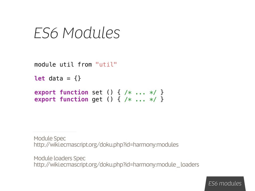"ES6 Modules module util from ""util"" let data = ..."