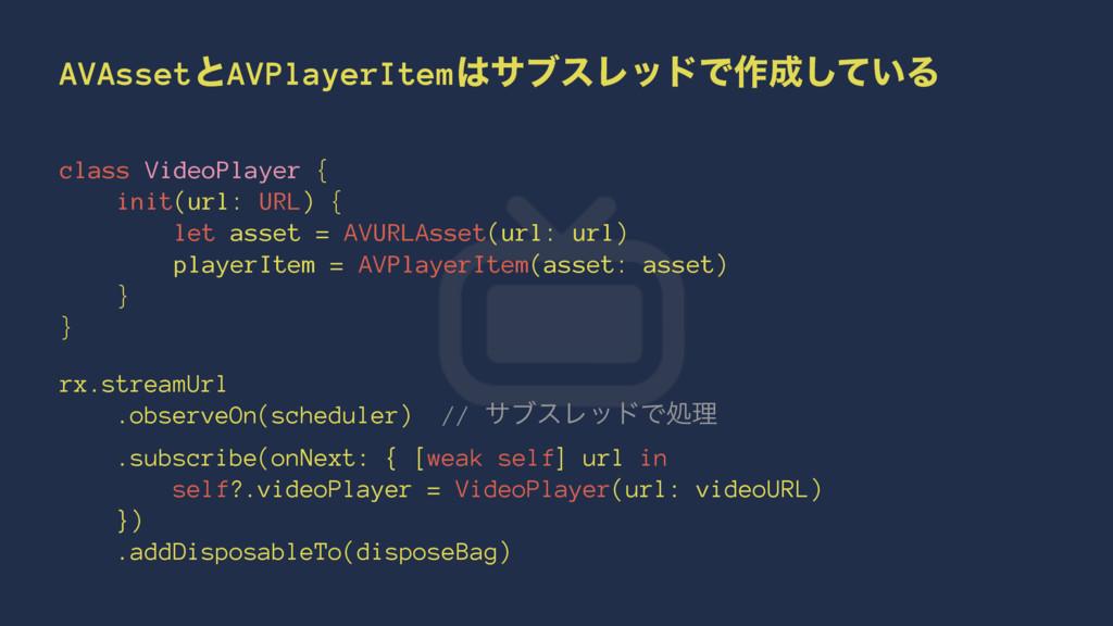 AVAssetͱAVPlayerItemαϒεϨουͰ࡞͍ͯ͠Δ class VideoP...