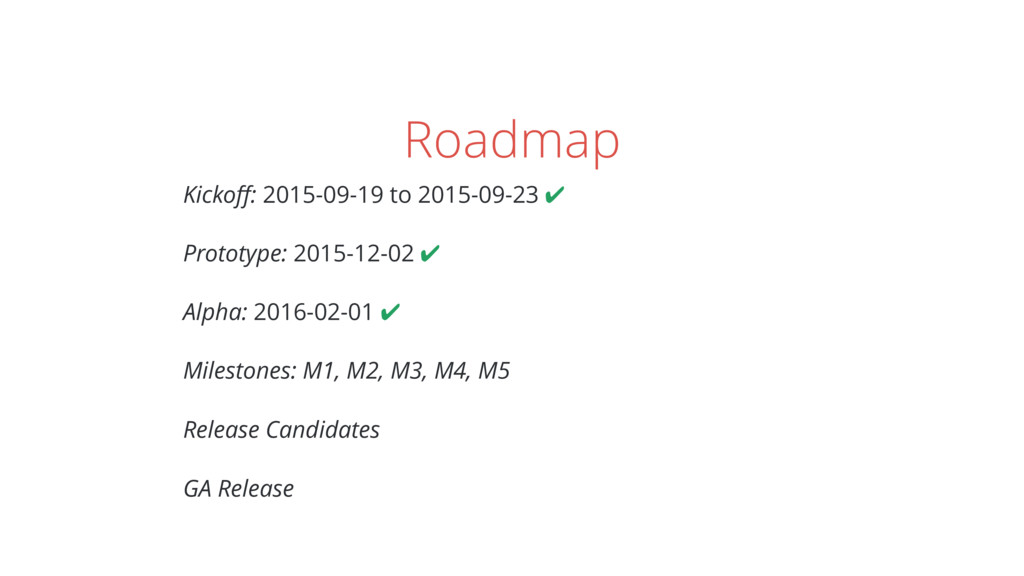 Roadmap Kickoff: 2015-09-19 to 2015-09-23 ✔ Prot...