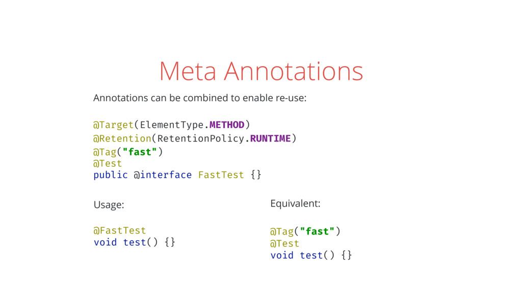 Meta Annotations Annotations can be combined to...