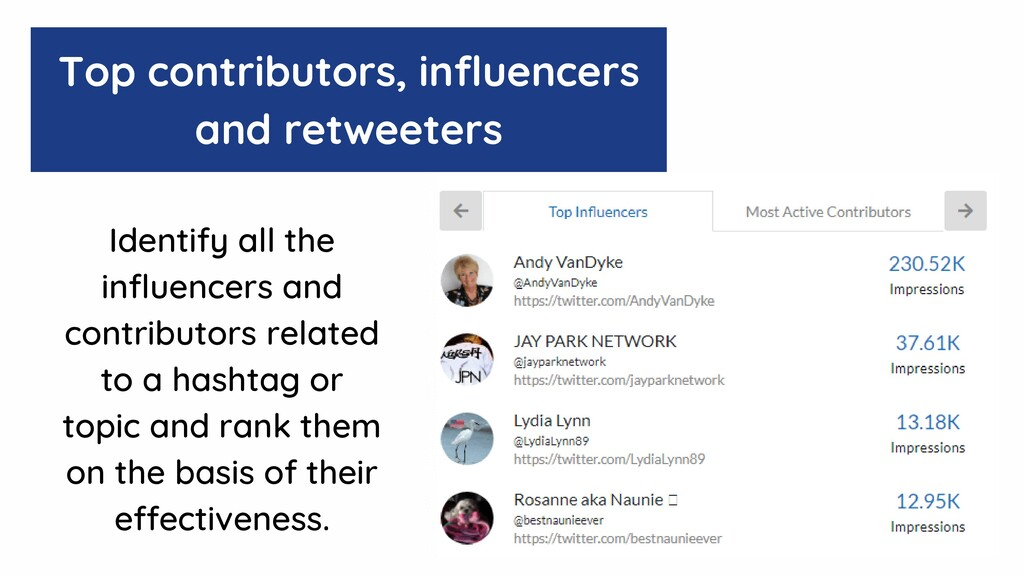 Top contributors, influencers and retweeters Id...