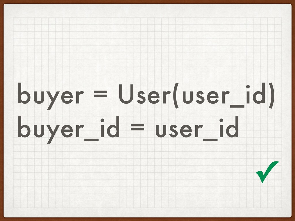 buyer = User(user_id) buyer_id = user_id ✓