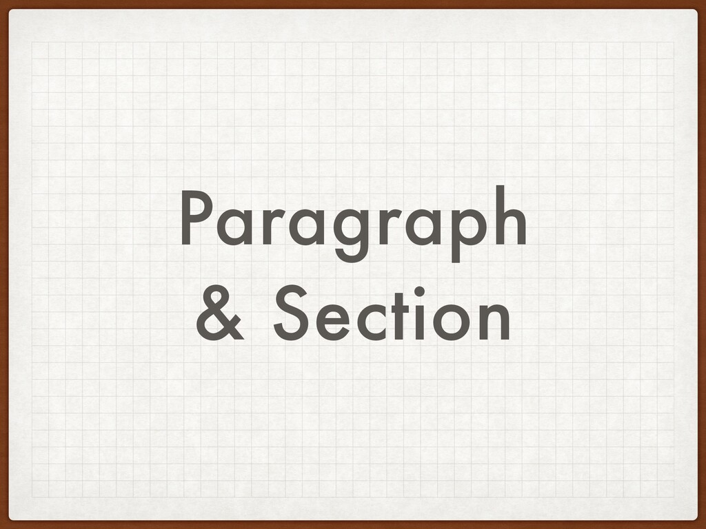 Paragraph & Section