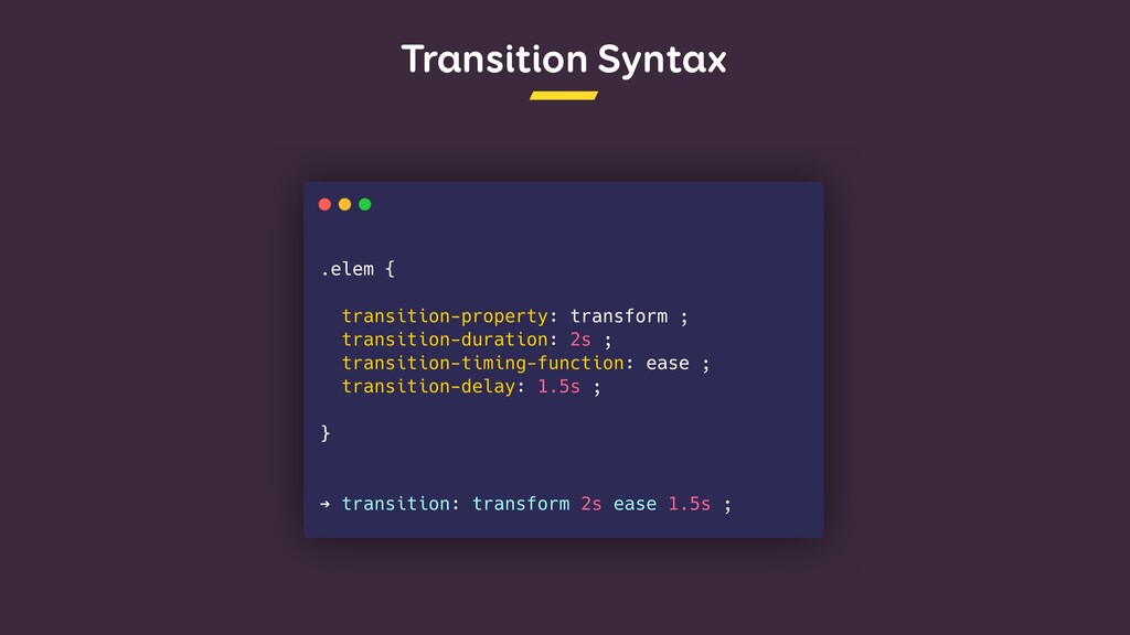 Transition Syntax