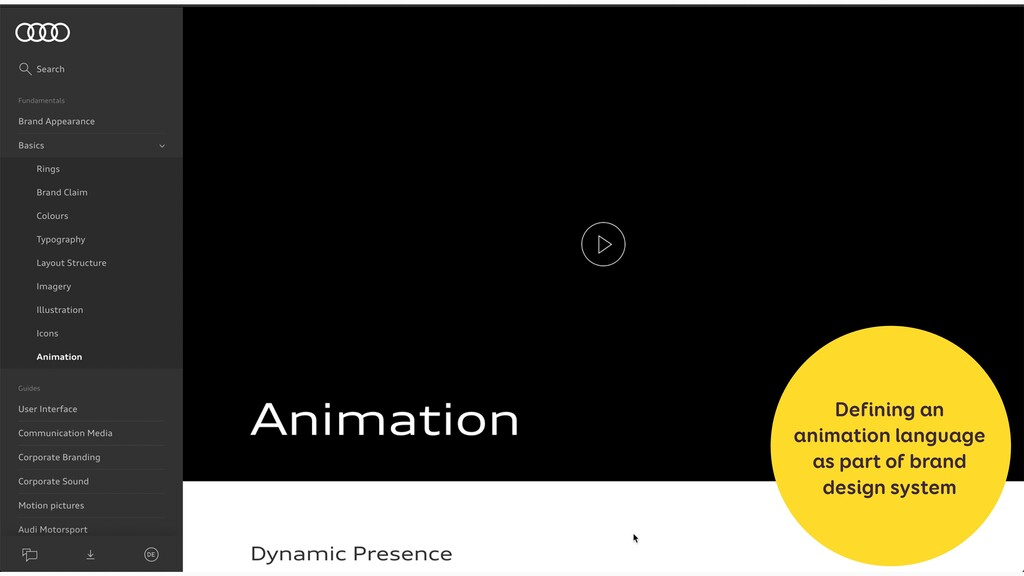 Defining an animation language as part of brand...