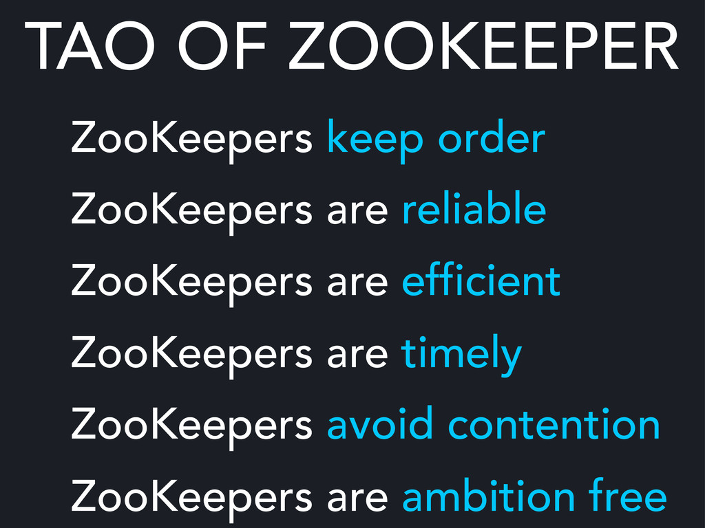 TAO OF ZOOKEEPER ZooKeepers keep order ZooKeepe...