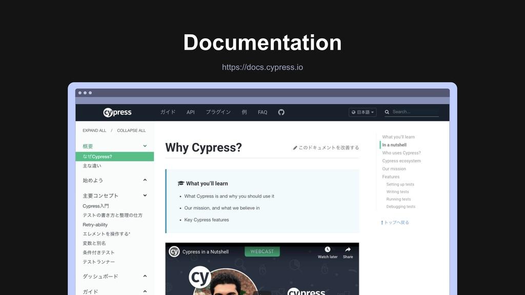 Documentation https://docs.cypress.io Ƃ