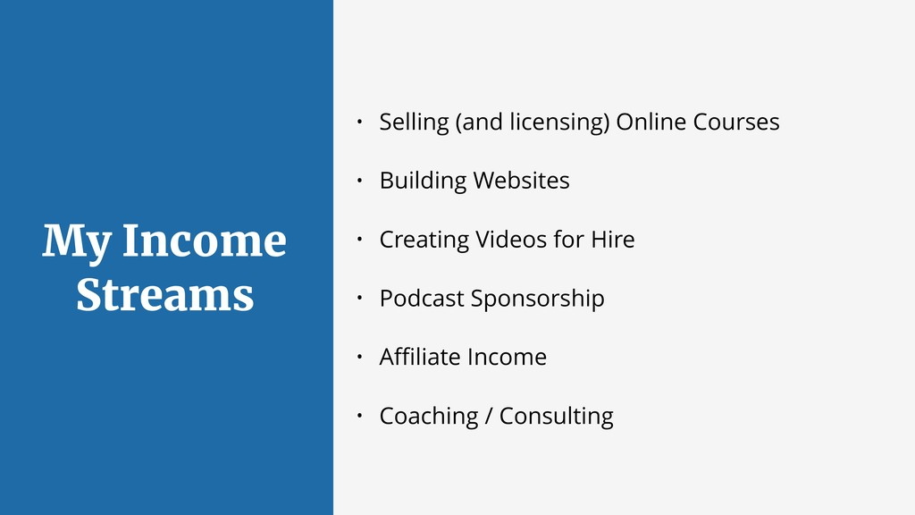 My Income Streams • Selling (and licensing) Onl...