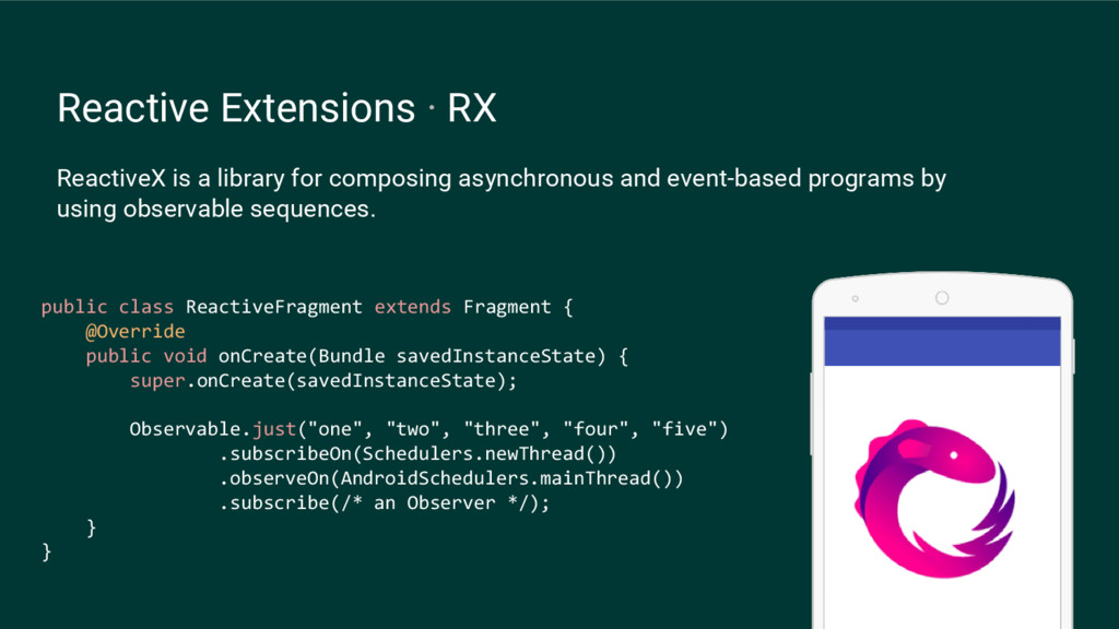 Reactive Extensions · RX ReactiveX is a library...