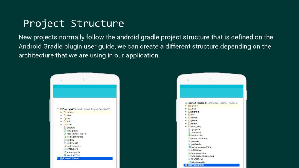 New projects normally follow the android gradle...