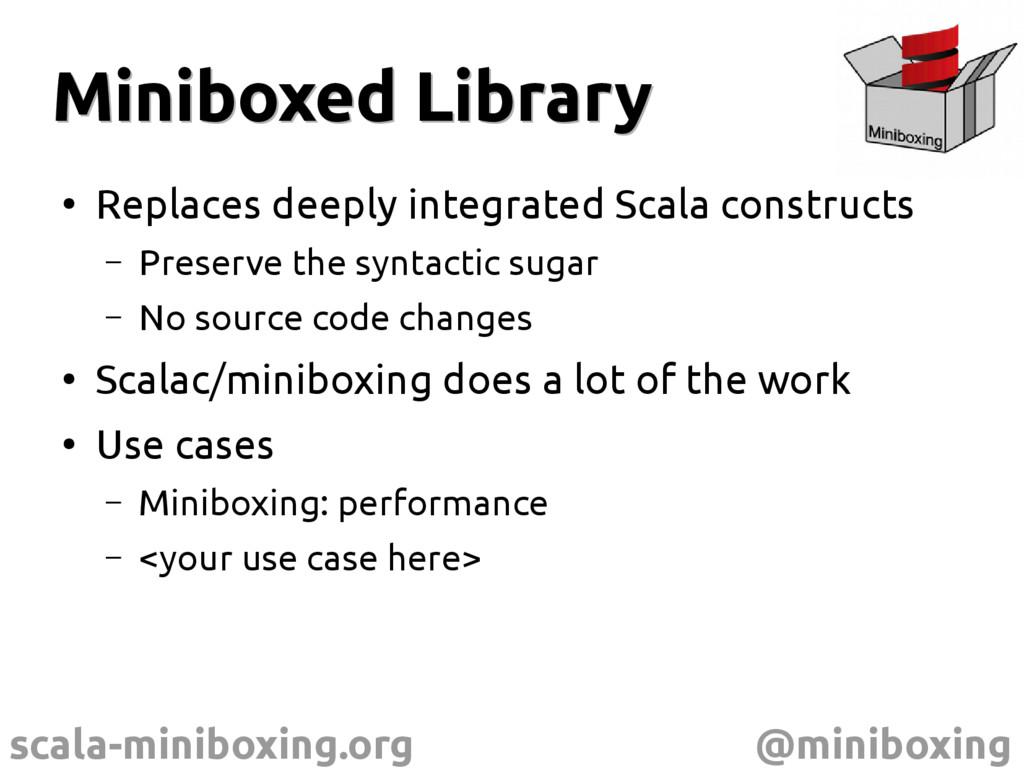 scala-miniboxing.org @miniboxing Miniboxed Libr...