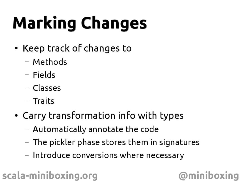 scala-miniboxing.org @miniboxing Marking Change...