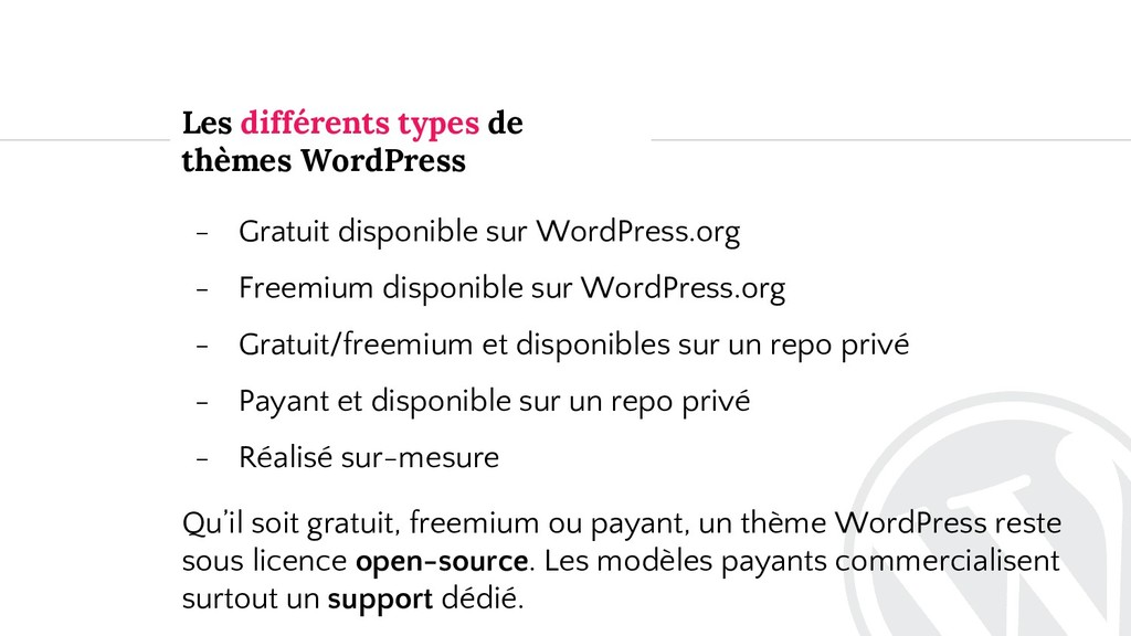 Les différents types de thèmes WordPress - Grat...