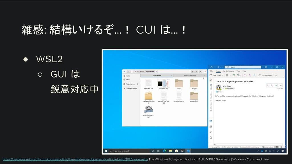 雑感: 結構いけるぞ…! CUI は…! ● WSL2 ○ GUI は 鋭意対応中 https...